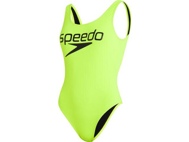 speedo Logo Deep U-Back Swimsuit Women, amarillo